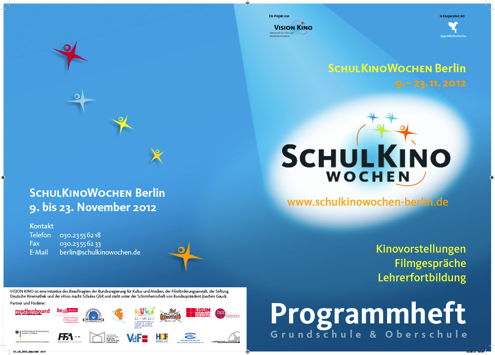 Umschlag fr Programmheft der SchulKinoWochen Berlin 2012