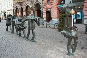 Foto, Stadtaufnahme der Statue MusikerGruppe