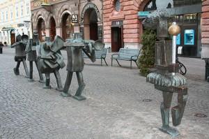 Foto, Stadtaufnahme der Statue MusikerGruppe
