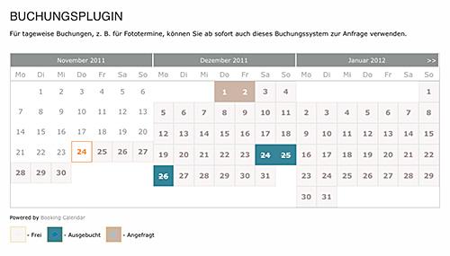 screenshot Anfang eines Kalenders