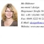 Screenshot Webansicht der vCard