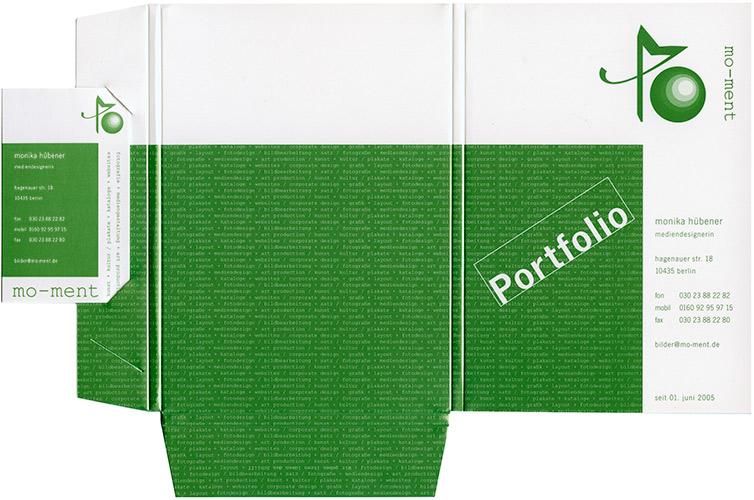 Postkartenmappe mit Visitenkarte