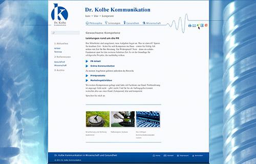 Screenshot Kolbe Kommunikation / Leistungen