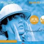 Folder 2007 Blaue Frau mit Tropenhelm ruft Literarisches Picknick.