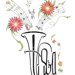 Tuba mit Blütendekor